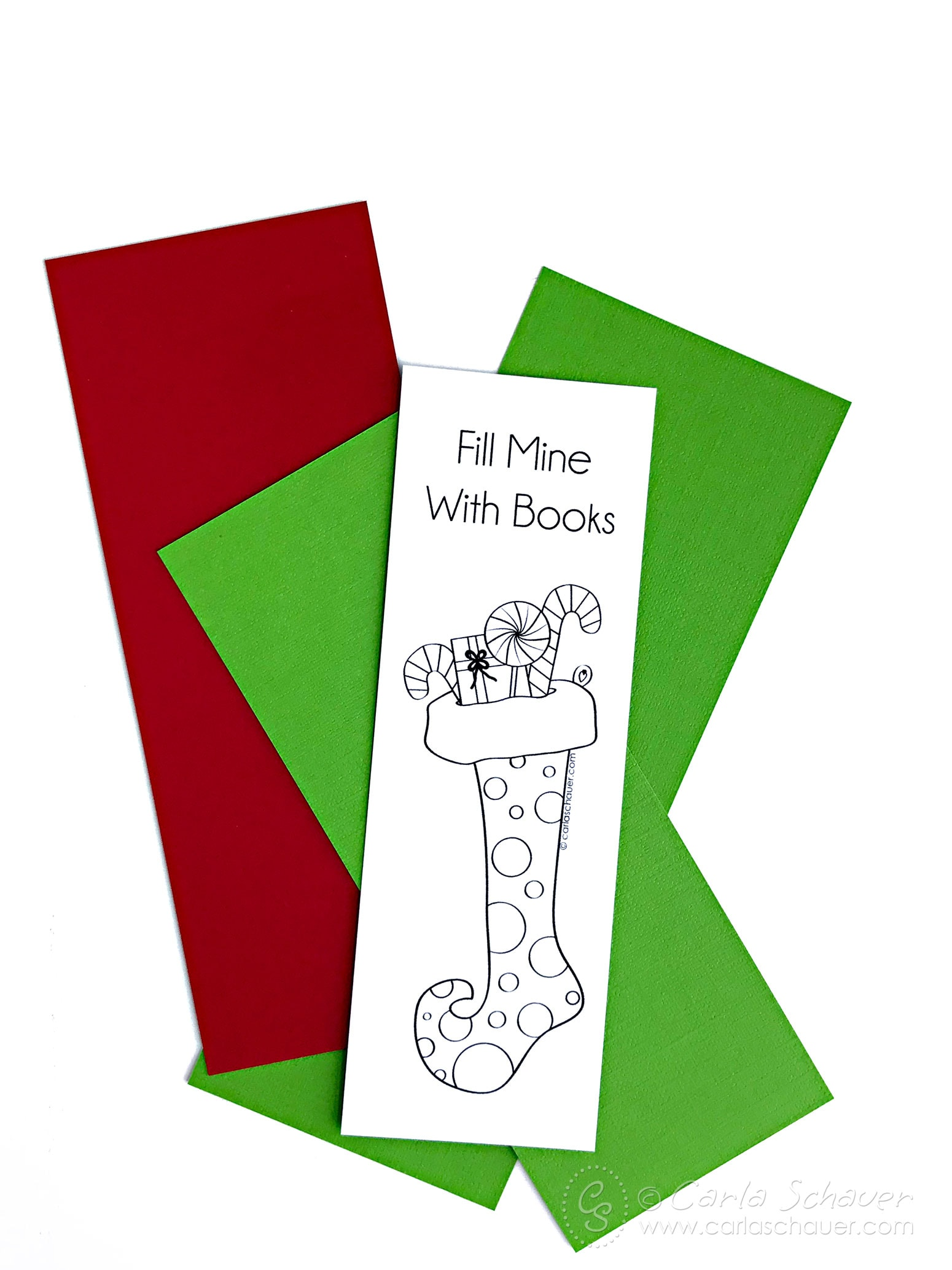 Printed stocking bookmark on red and green paper strips.