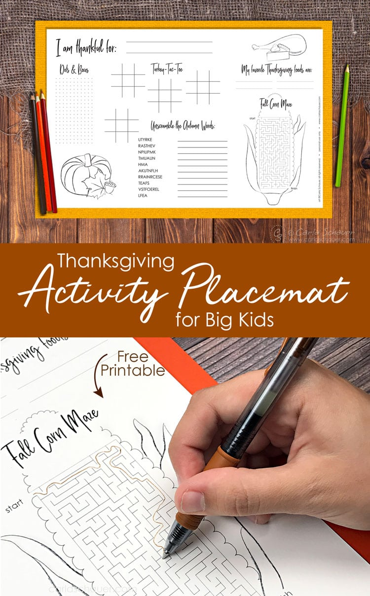 Collage of Thanksgiving Activity Placemat images with descriptive text for pinning.