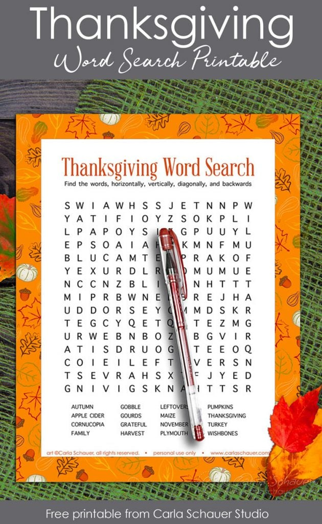 Thanksgiving word search on green burlap, with text for pinning.