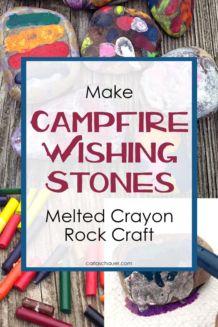 Collage of crayon and melted crayon rock images with text overlay for pinning.