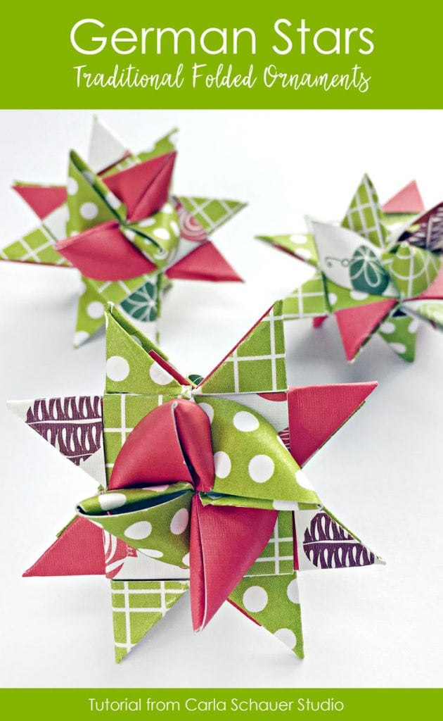 3 red and green folded paper star ornaments on white background with text for pinning
