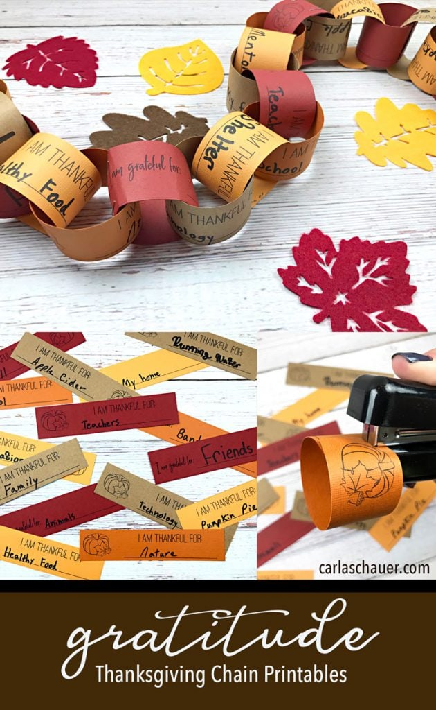 Fall colored paper chain with written blessings, with felt leaves on white table. Includes text for pinning.