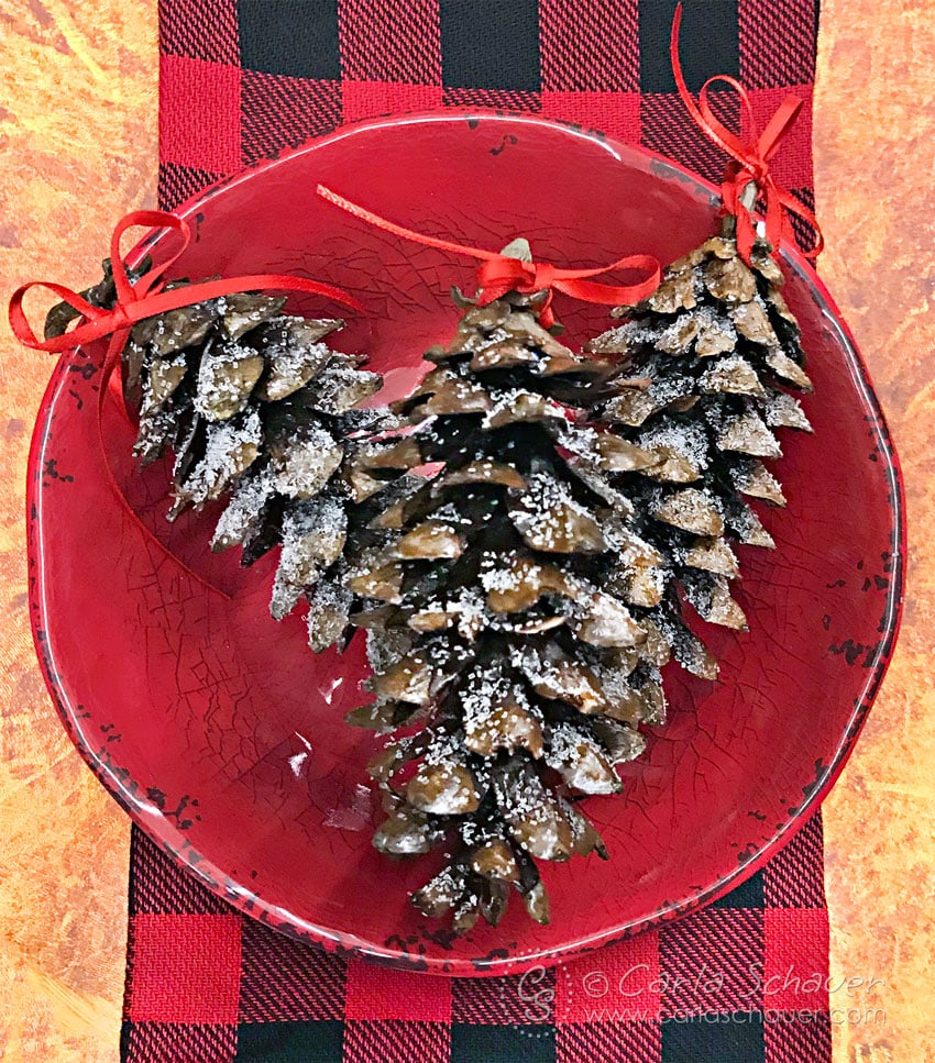 3 glittered pinecones in red bowl, on plaid fabric.