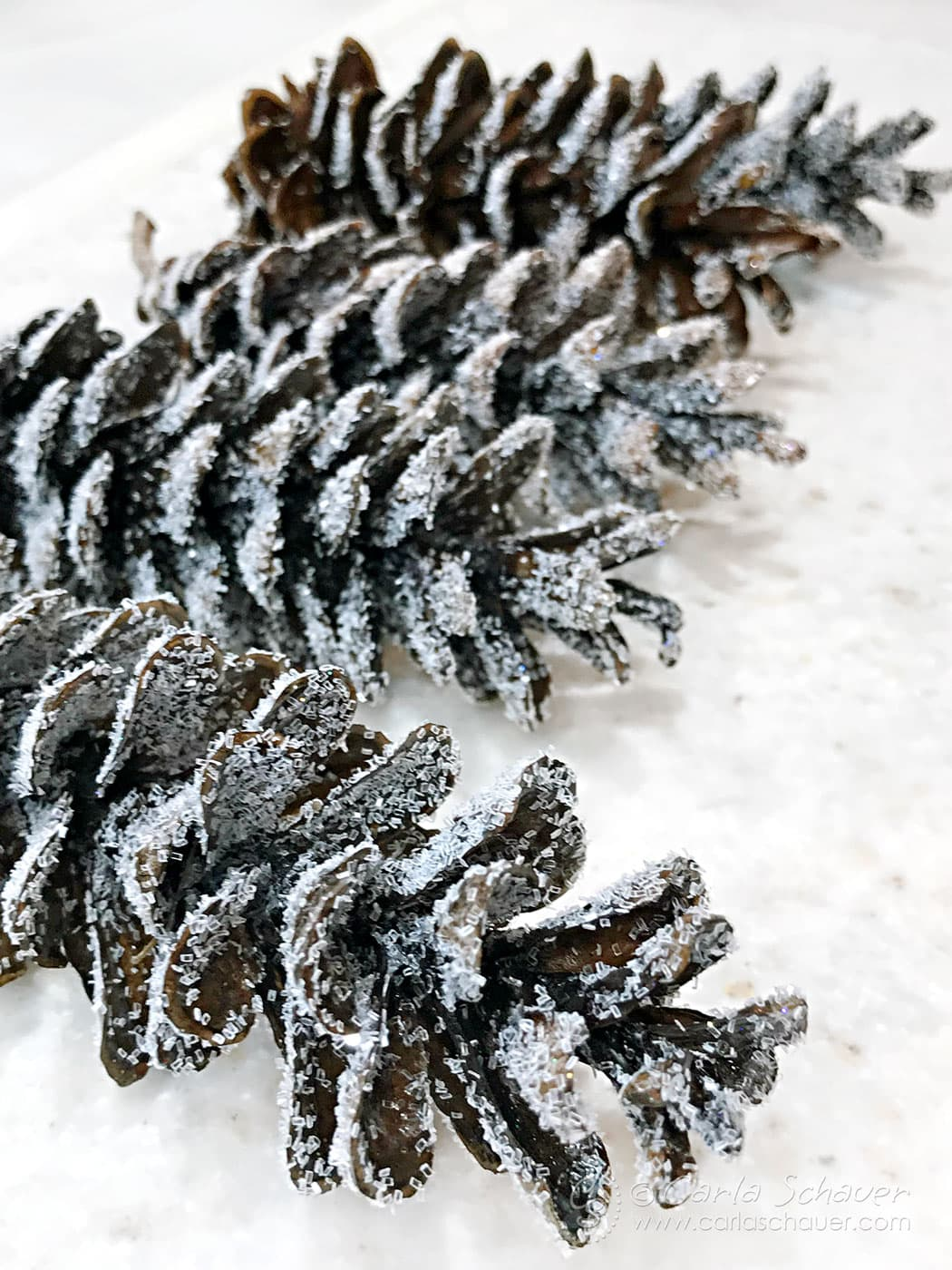 Glittered pine cones laying on waxed paper sheet to harden wax.