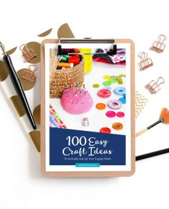 Easy Craft Idea pdf displayed on clipboard, surrounded by gold office supplies