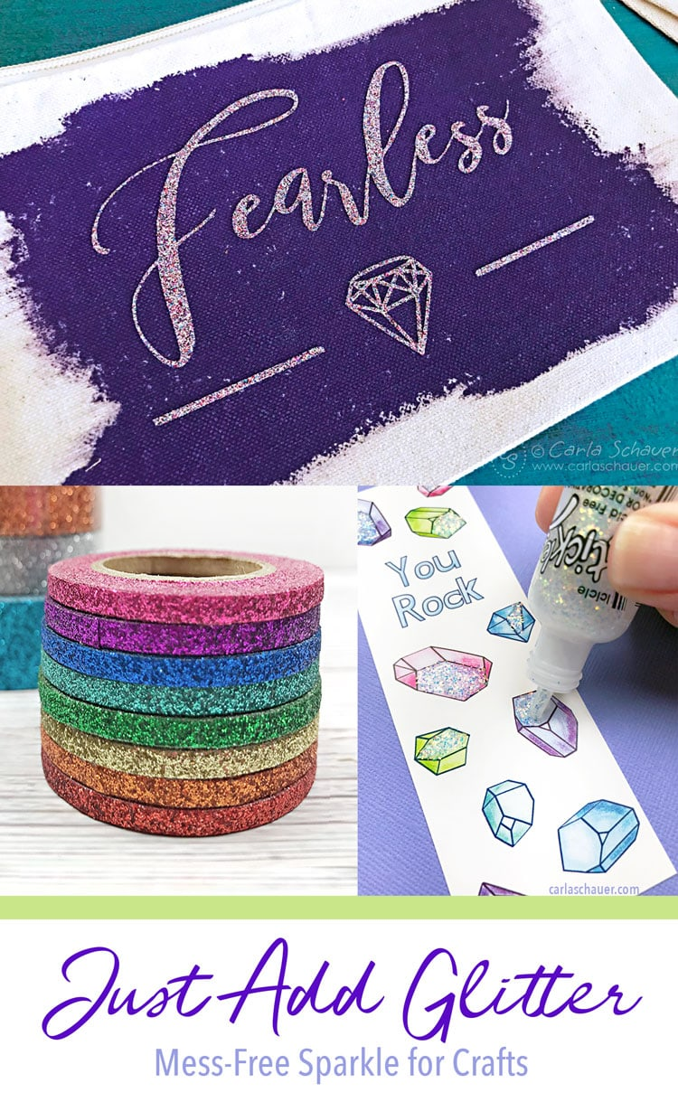 Collage of glittery crafts with text for pinning.