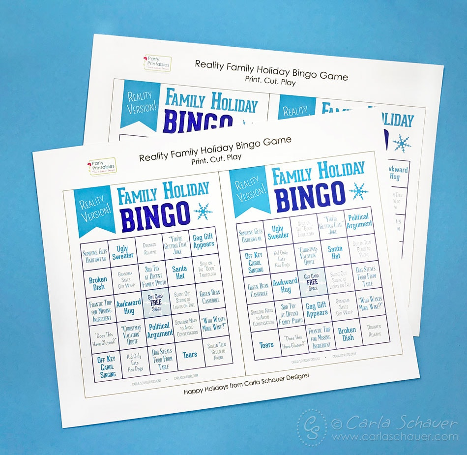2 printed pages of snarky holiday bingo boards on blue background.