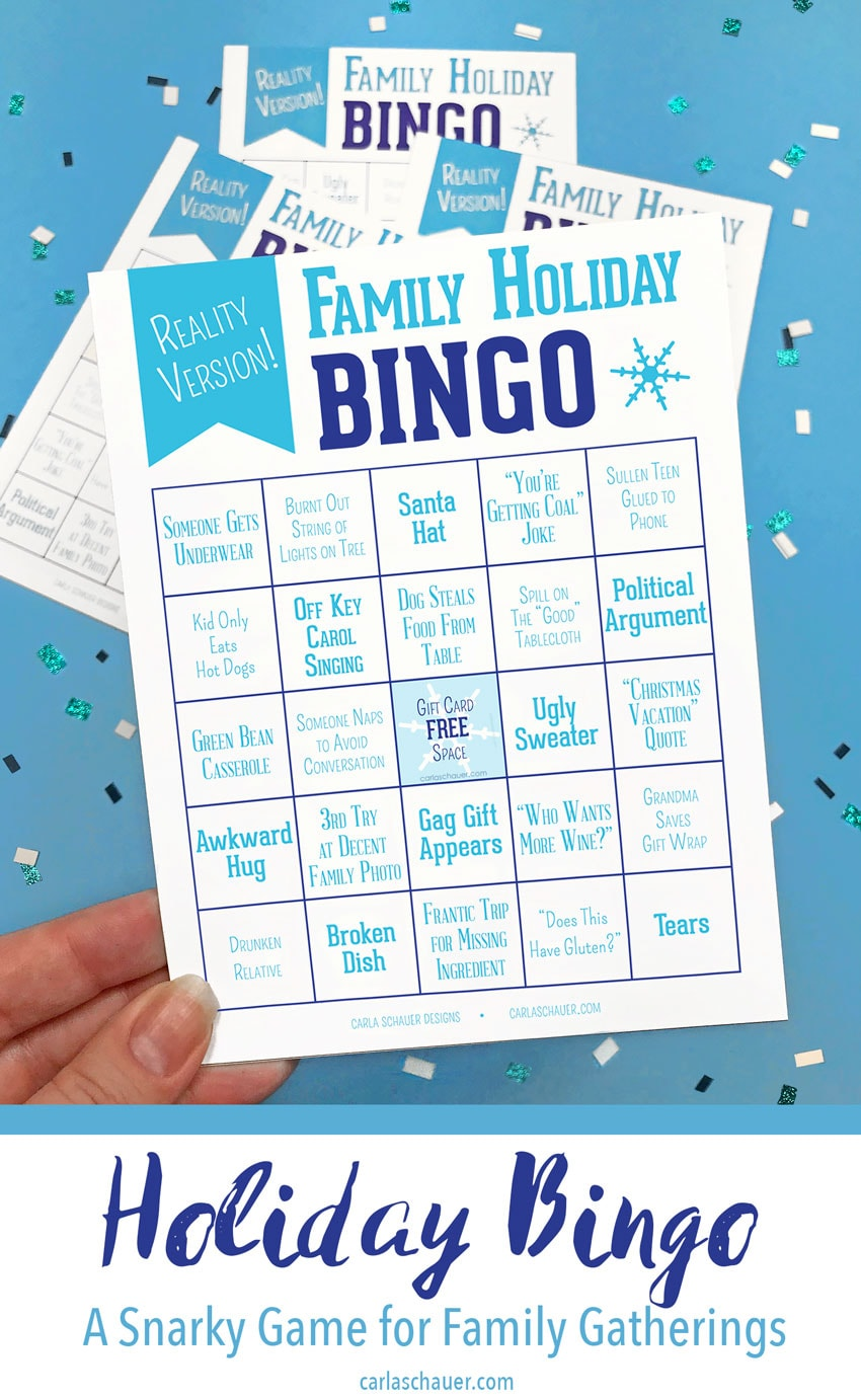 Funny Reality Holiday Bingo card held over blue background, including text for pinterest.