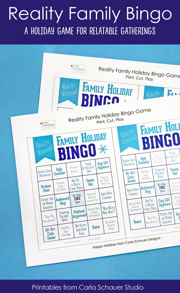 2 printed pages of snarky holiday bingo boards on blue background. Includes text for pinterest