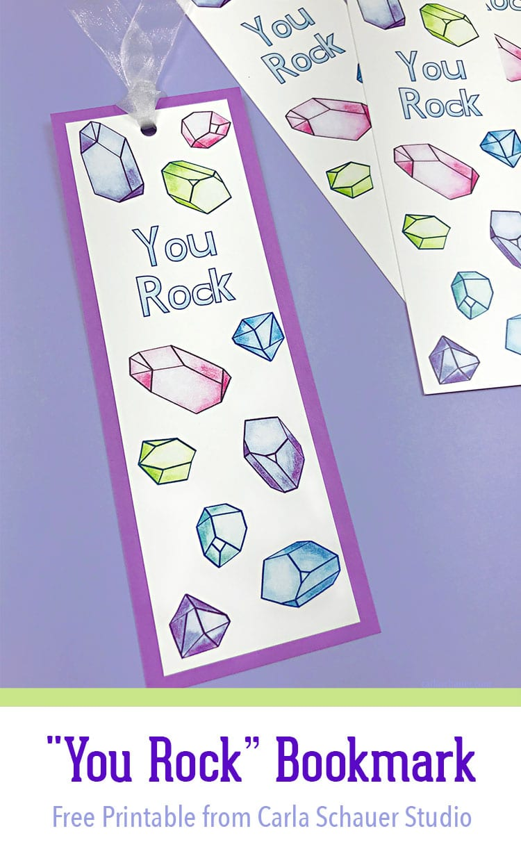 Crystal-patterned bookmark on purple background with text for Pinterest.