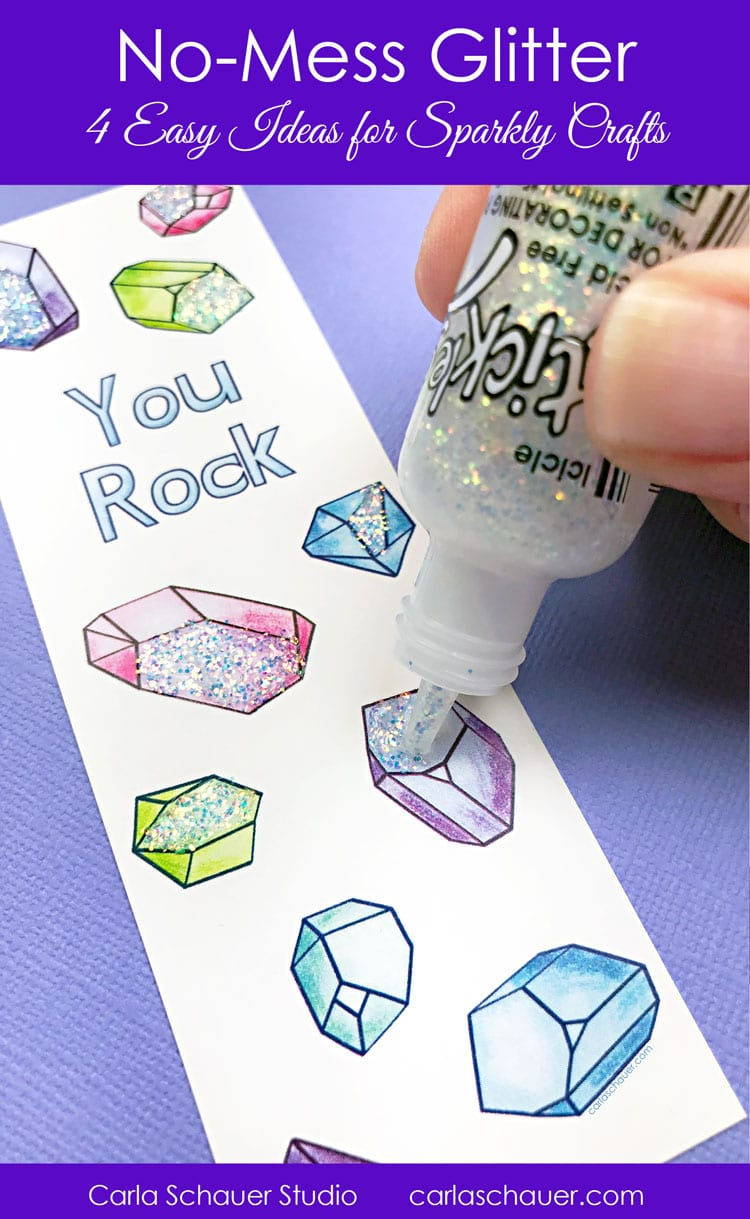 Adding glitter glue to crystal patterned bookmark. Includes text for pinning.