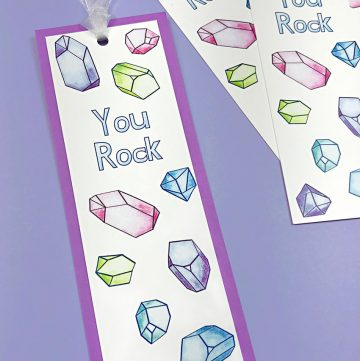 """""""You Rock"""" Printable Bookmark with ribbon on purple background"""