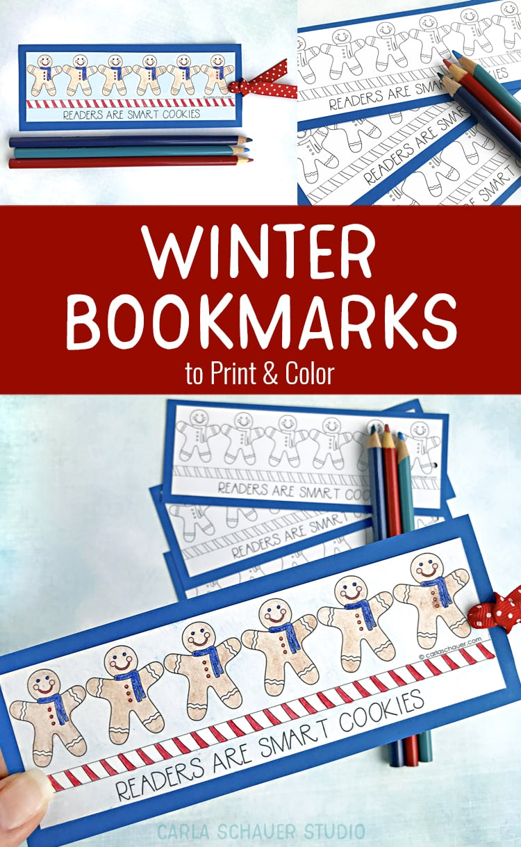 Collage of printable winter bookmarks with gingerbread men on blue background