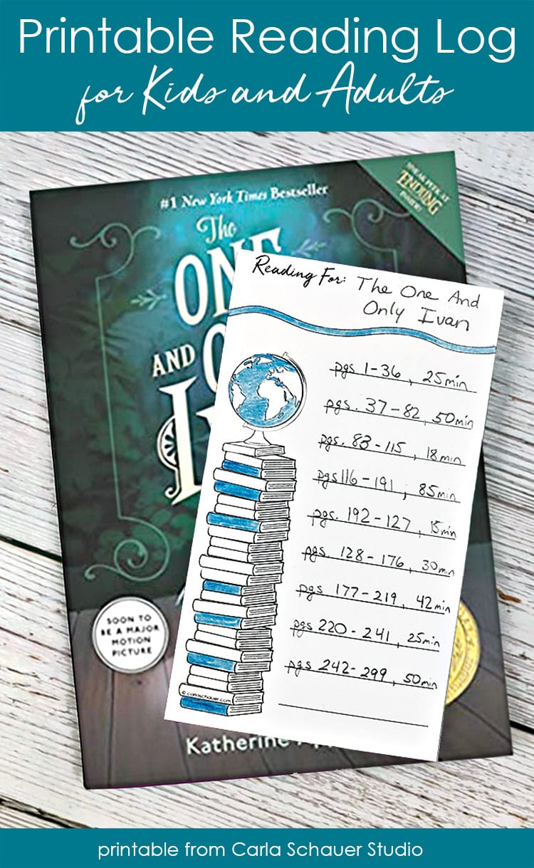 Printable reading log with minutes read, sitting on book.