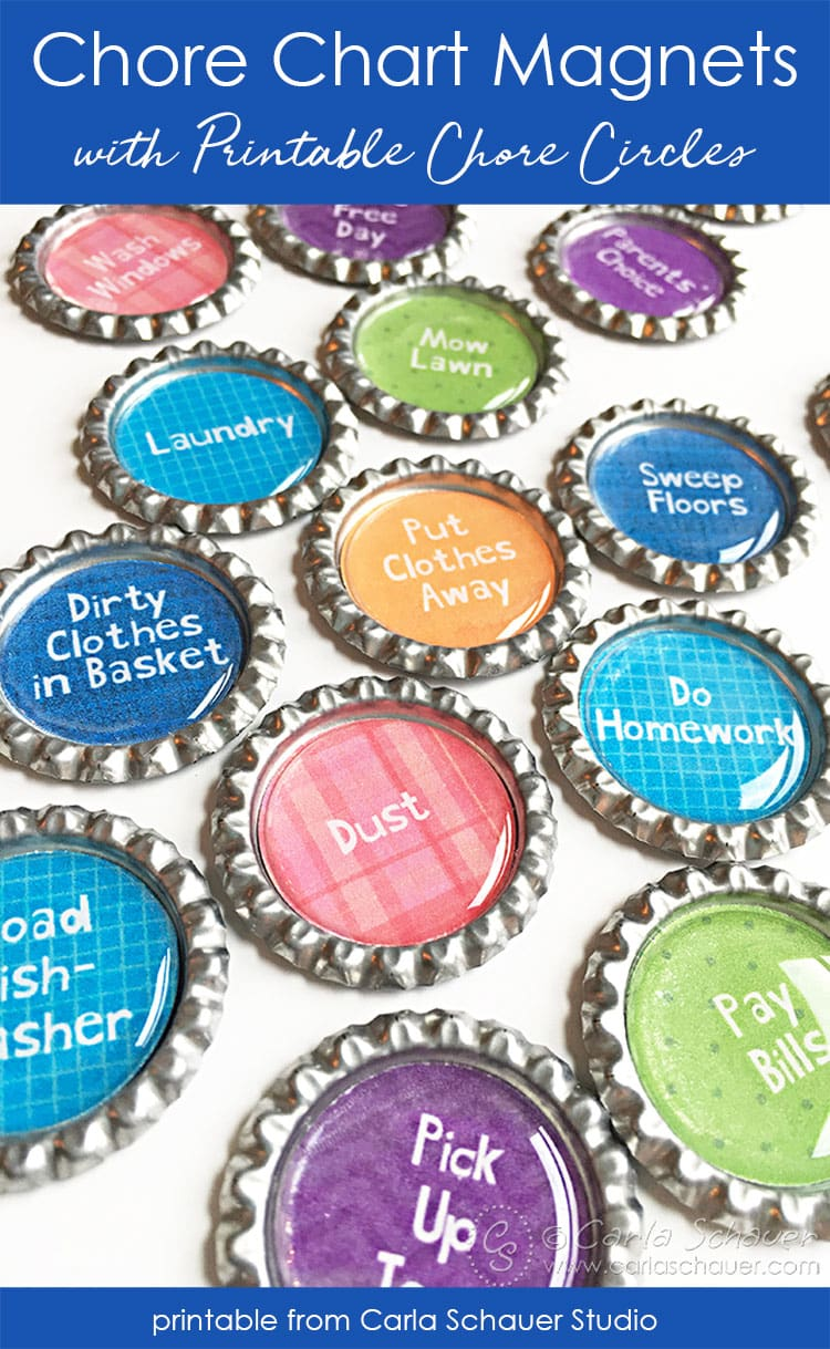 Colorful Chore Chart bottlecap magnets on white background