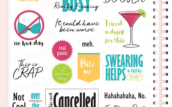 Pink digital planner sticker page filled with snarky digital planner stickers