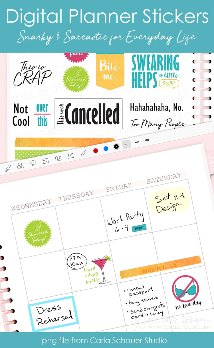 Pink digital planner sticker page filled with snarky digital planner stickers with text overlay for Pinterest