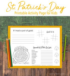 St. Patrick's Day Activity sheet on yellow paper and wood/burlap table. Includes discriptive text.