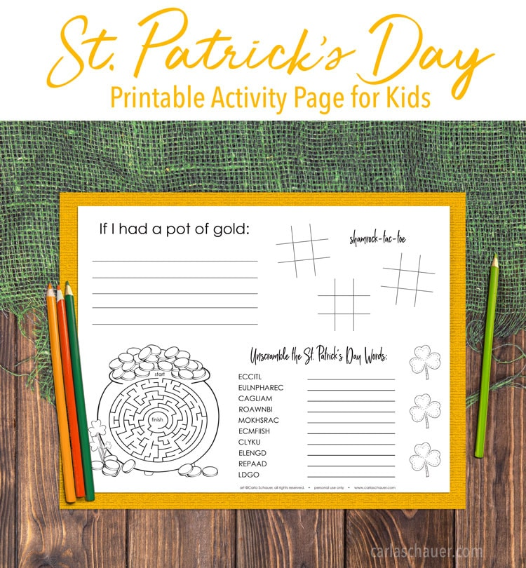 Printed St. Patrick's Day Activity Page on yellow paper and wood/burlap table. Includes discriptive text.