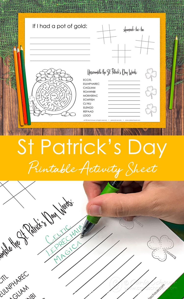 Collage of St. Patrick's Day activity printable page photos with discriptive text.