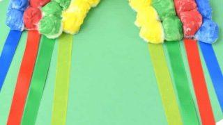 Hanging Cotton Ball Rainbow Craft