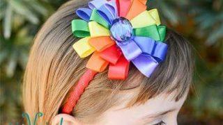 Headband with a Rainbow Ribbon Flower