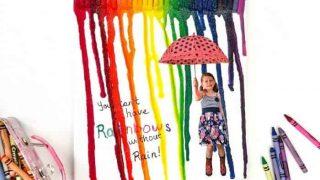 Rainbow DIY Melted Crayon Art Canvas Gift