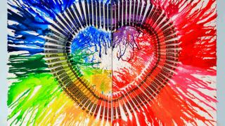 Melted Crayon Art Heart Canvas