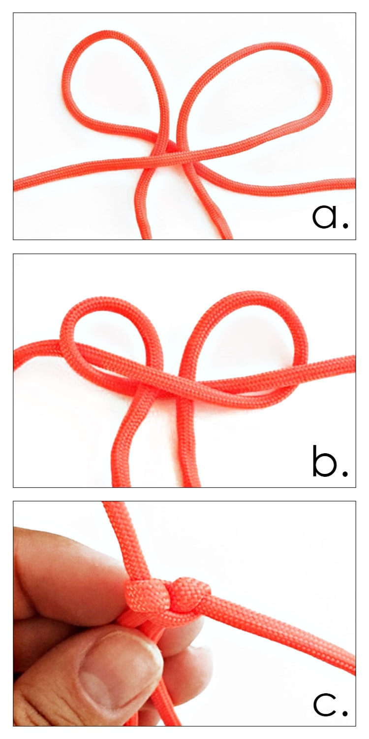 3 photo collage of making first paracord cobra knot.