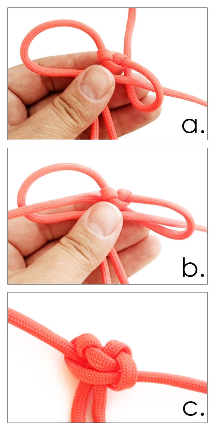 3 photo collage of making paracord cobra knot zipper pull.