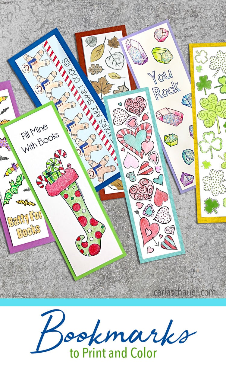 Colored printable bookmarks laying on cement background with descriptive text.