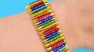 DIY Rainbow Beaded Safety Pin Bracelet