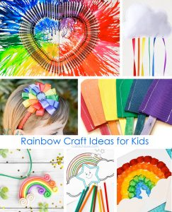 Collage of rainbow craft ideas.