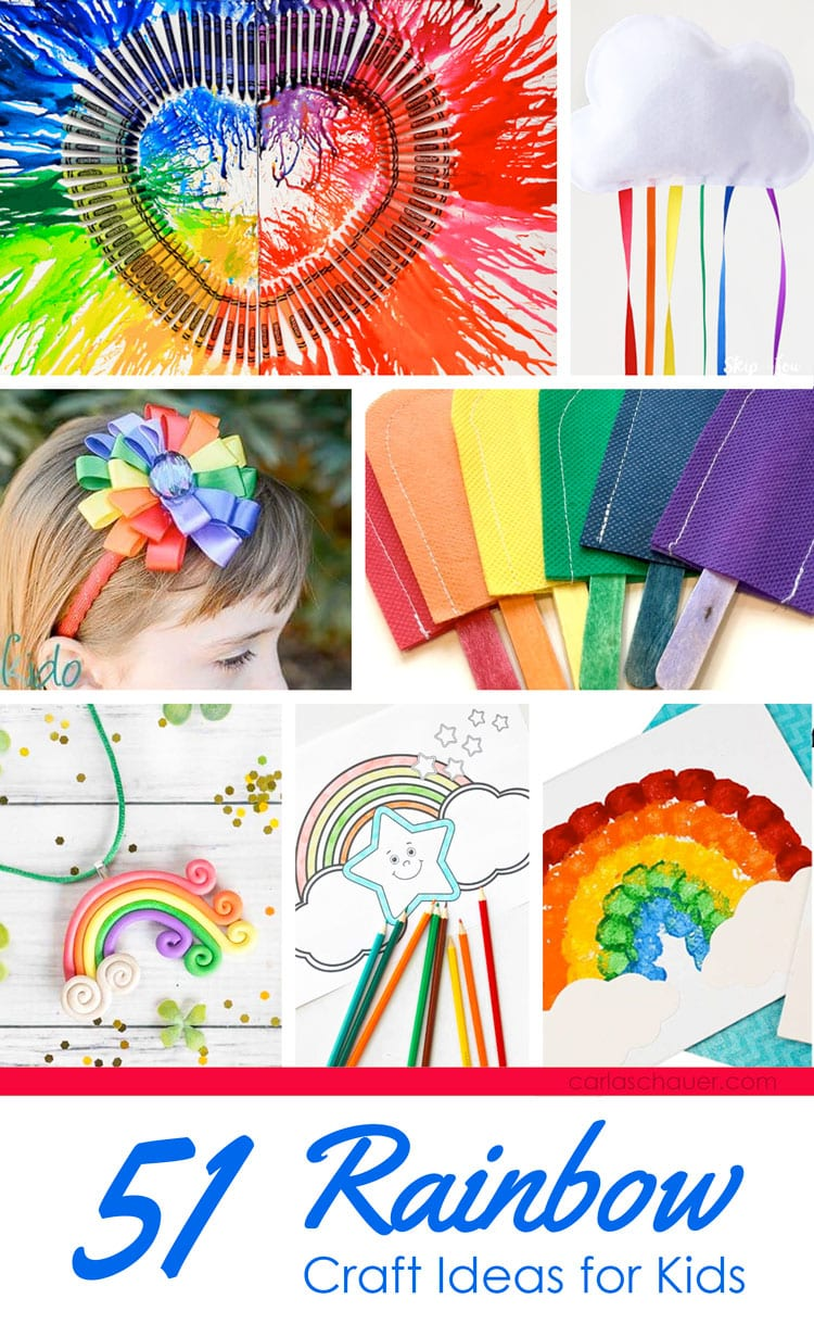 Collage of rainbow craft ideas with text at bottom