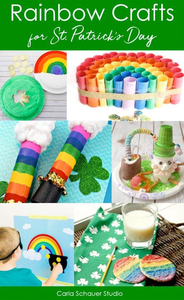 Collage of St. Patrick's Day rainbow craft ideas.