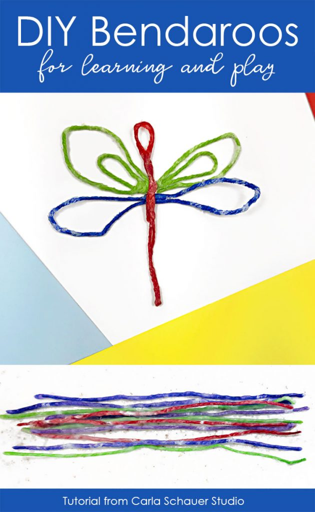 DIY Bendaroo dragonfly and sticks on colored paper background.