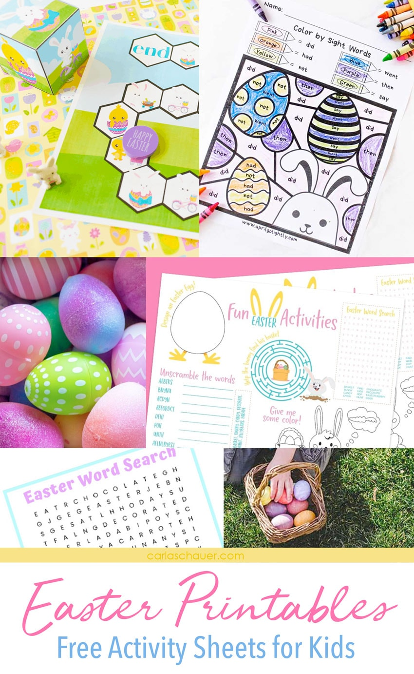 Collage of printable Easter activity photos with descriptive text.