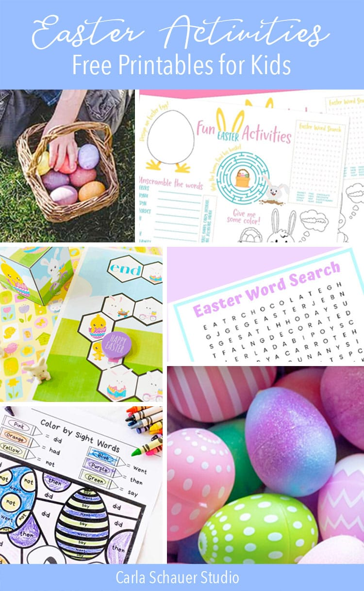 Photos of easter activity printables as collage