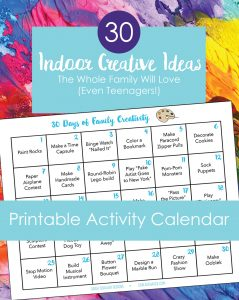 Printable activity calendar for families with text description.