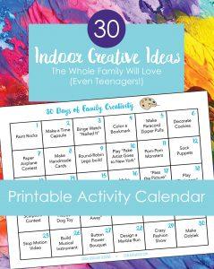 Printable activity calendar for families with text description.