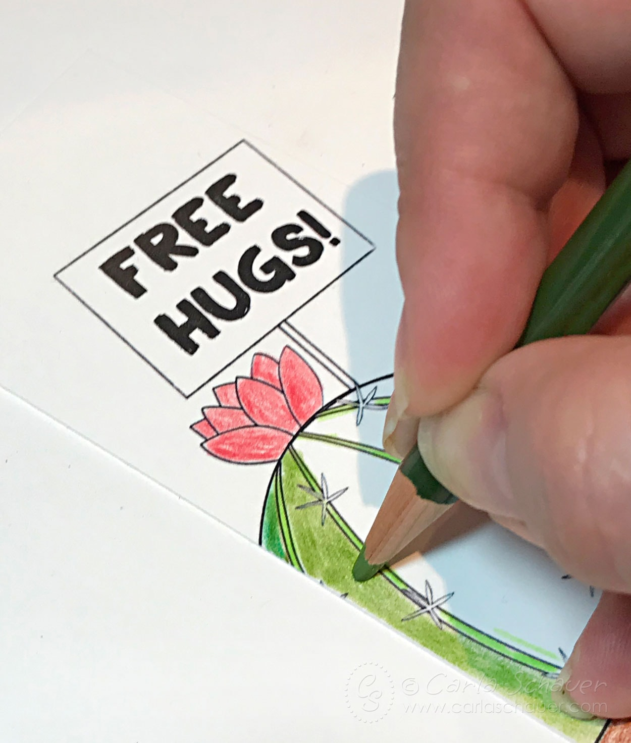 Coloring cactus bookmark with colored pencils