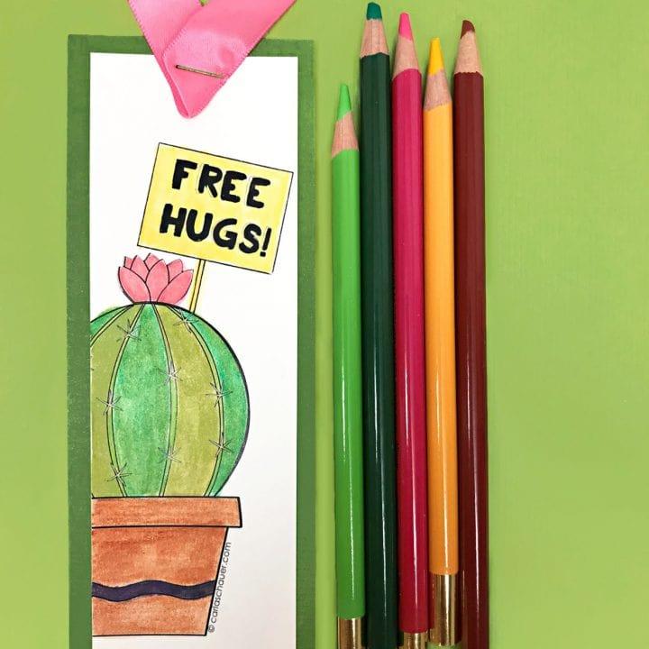 Cactus Coloring Bookmark