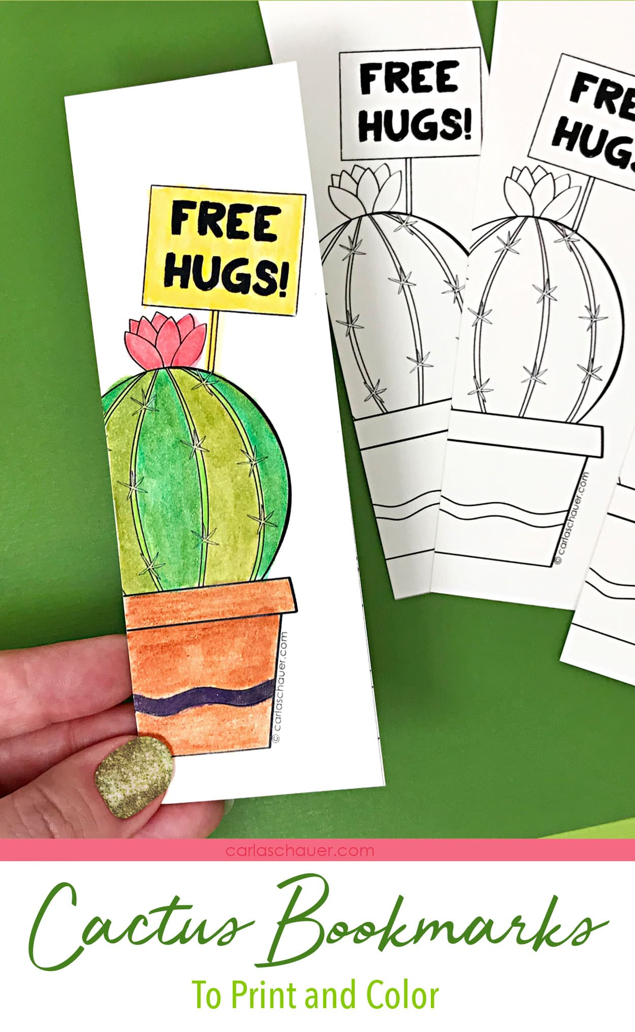 Watercolored and uncolored diy cactus bookmarks on green background.
