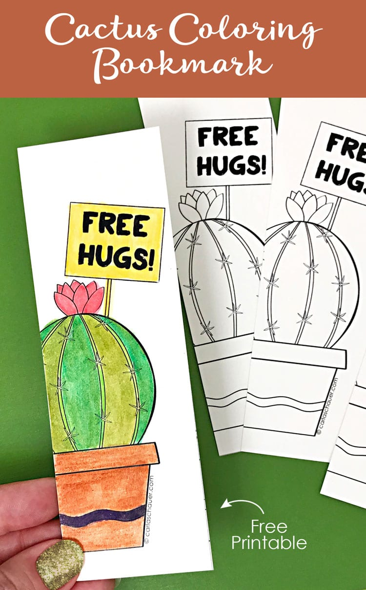 Watercolored and uncolored cactus bookmarks with descriptive text