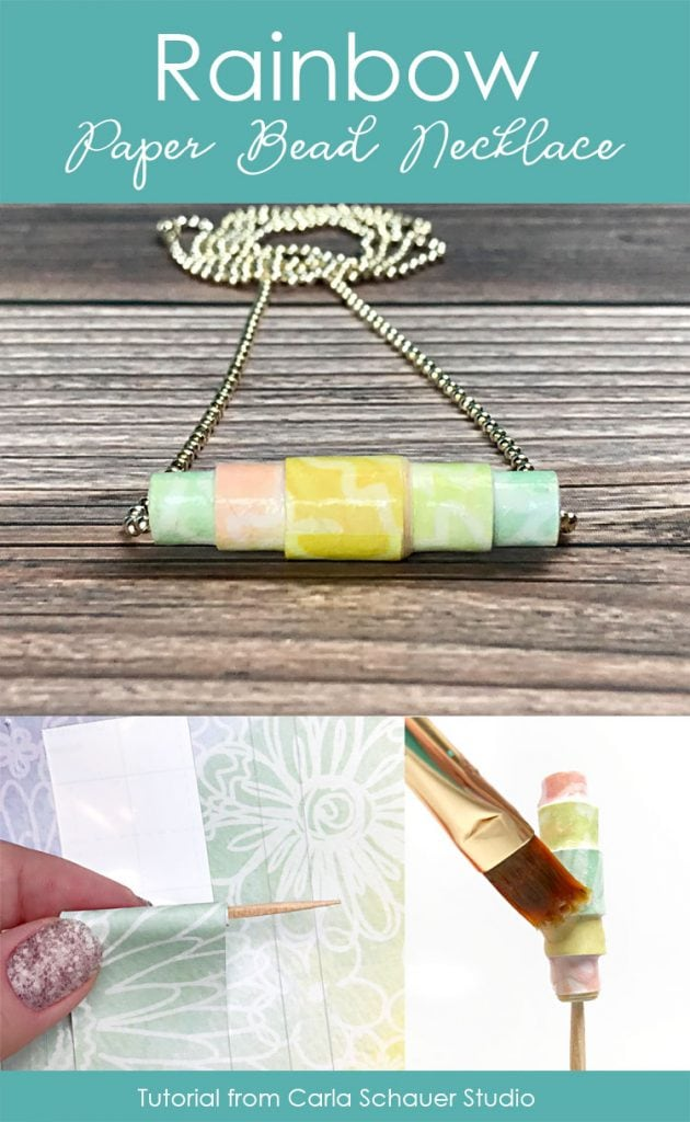 Collage of paper bead necklace photos with descriptive text.