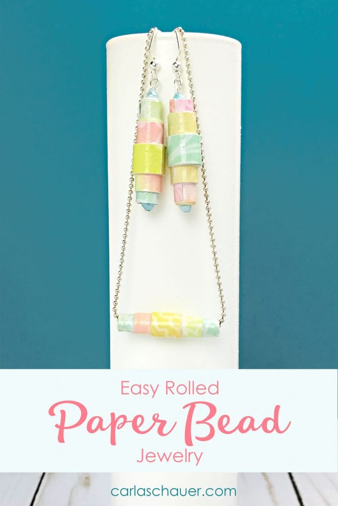 Rainbow paper bead necklace and earring set