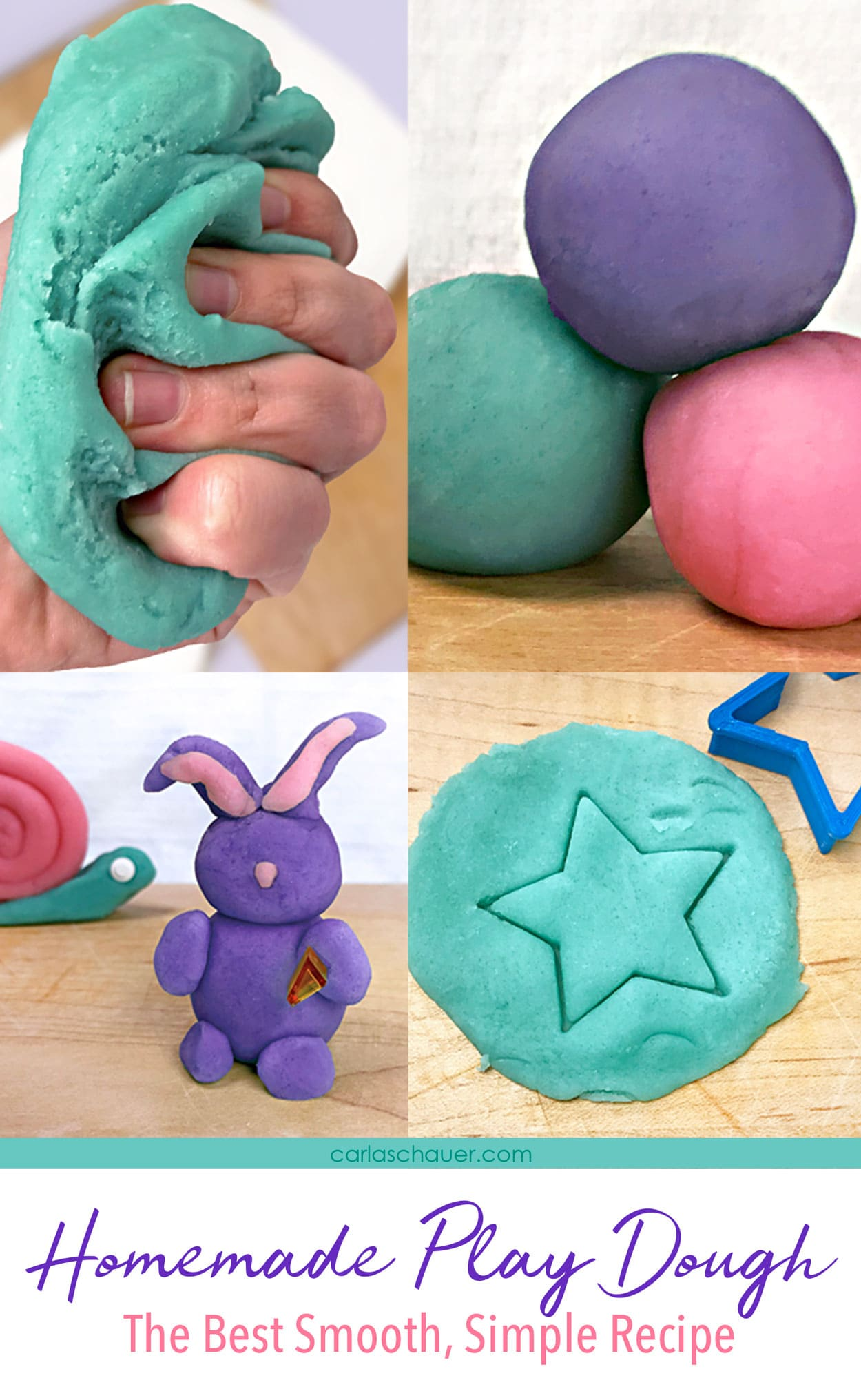 Photo collage of homemade playdough use pictures, with text overlay.