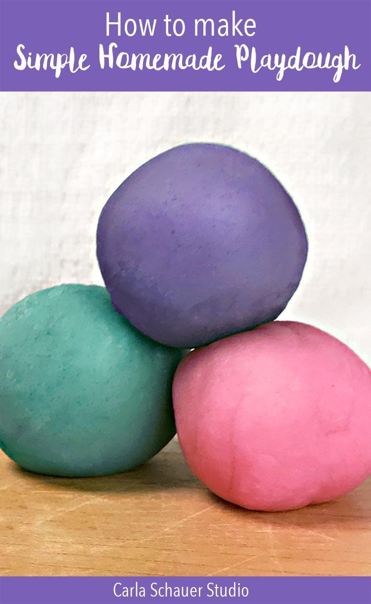 3 colorful homemade playdough balls with descriptive text