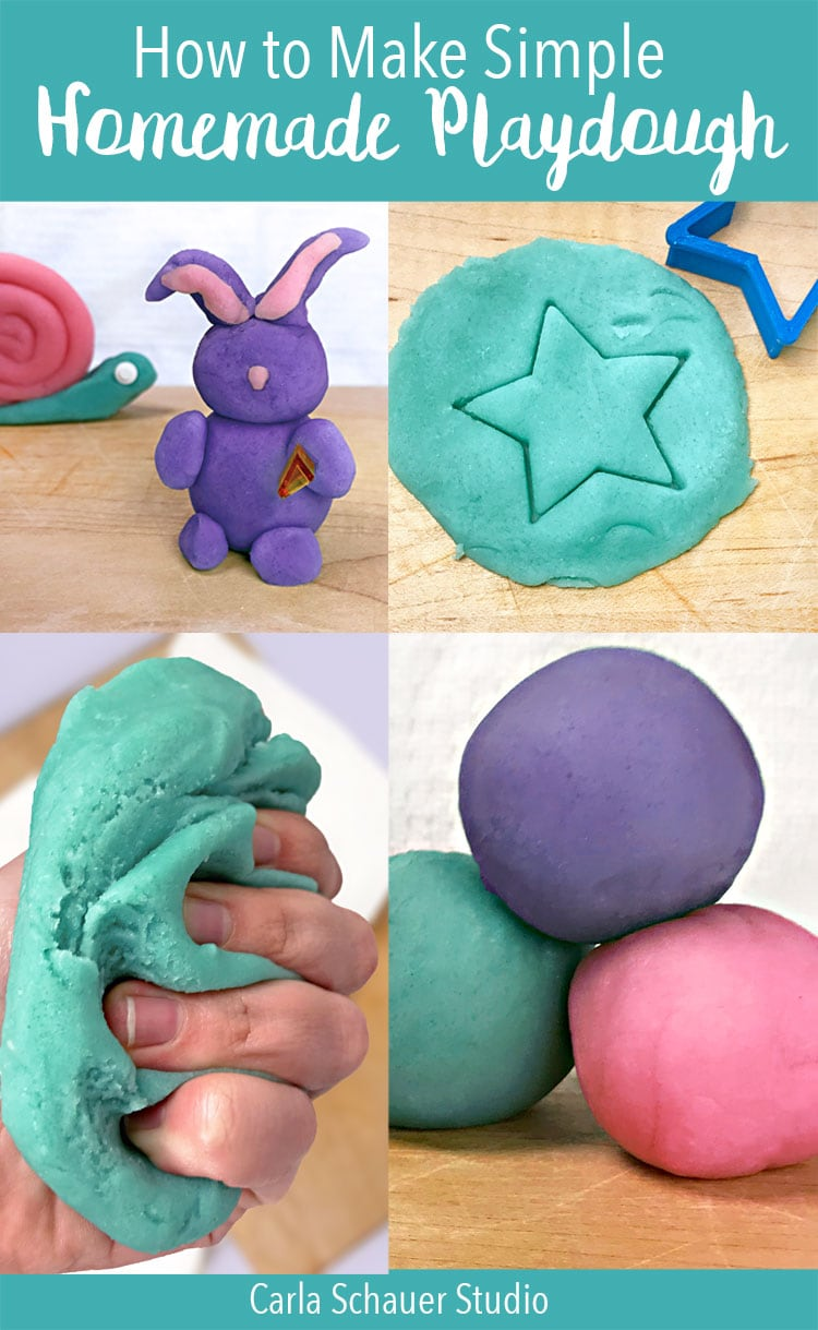 "Collage of homemade playdough activity photos with ""Homemade Playdough"" text overlay"