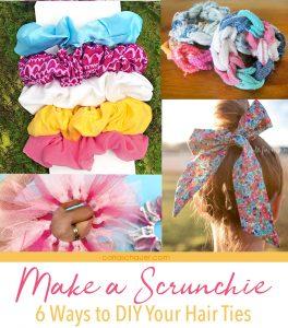 """6 handmade scrunchie photos with descriptive text """"how to make a scrunchie"""""""